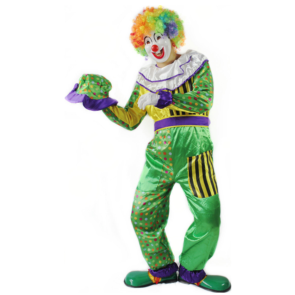 Adult Halloween Clown Costume Mask Hat Wig Shoes Magician Jumpsuit Joker Costume Mask Fancy Dress For Carnival Party Performance
