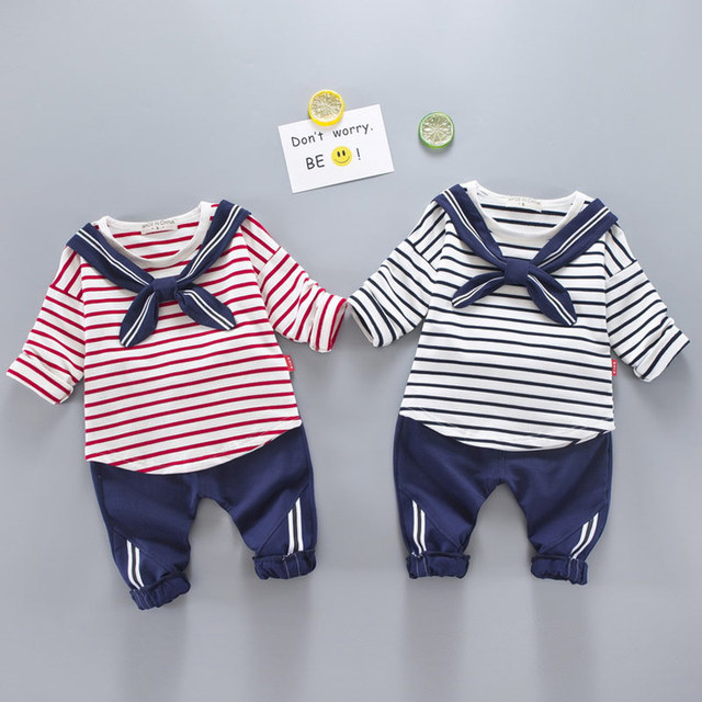 c93022f2f5ffb baby boy clothes 2-5 years old boy 2 sets Spring and autumn Boys and girls  can Navy clothing red blue