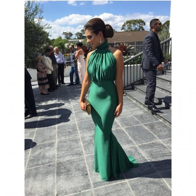 Emerald Green Mermaid Long Evening Dress 2017 New Arrival Elegant Y High Neck Backless Women Formal Dresses For Wedding Guest In From
