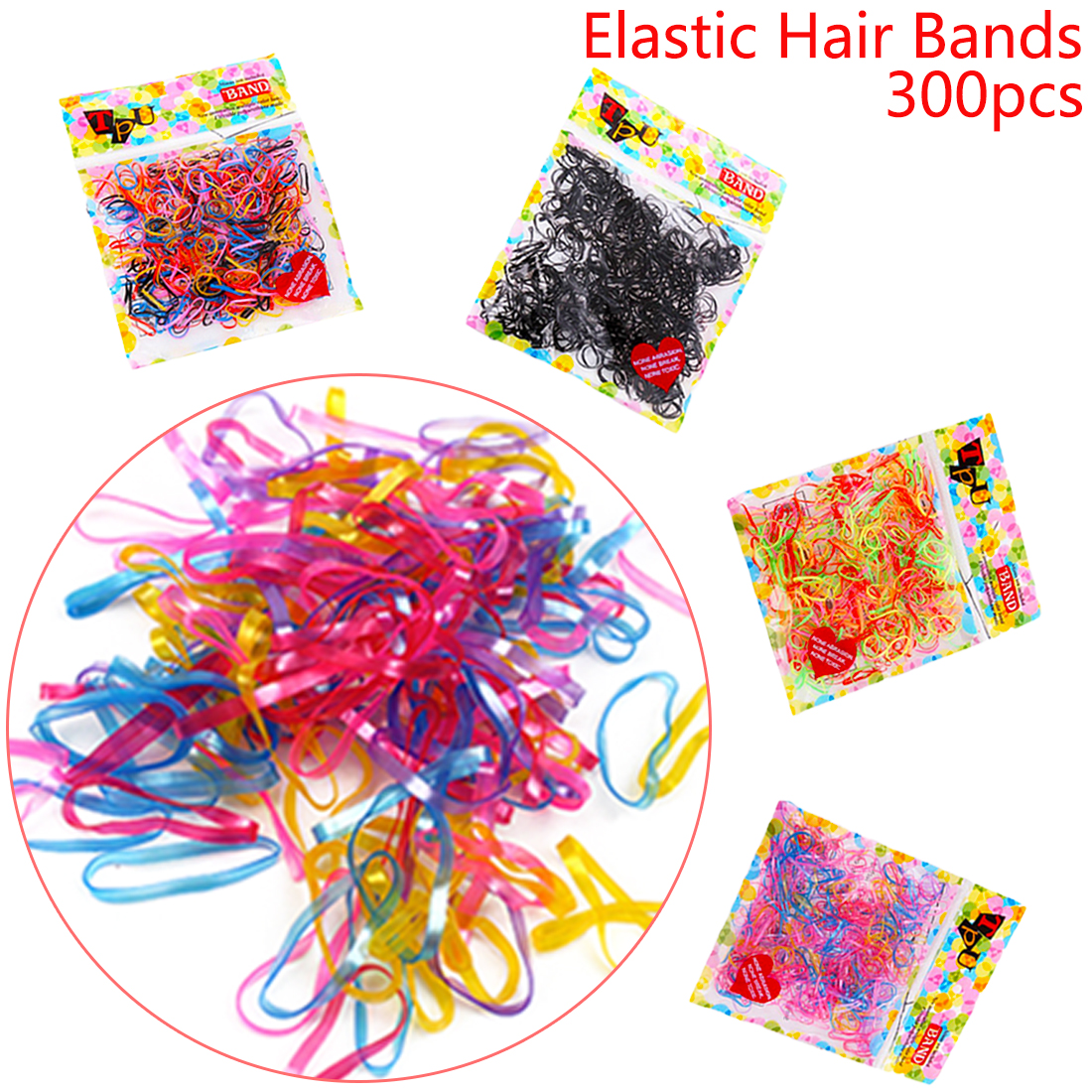 About 300pcs/lot Colorful Elastic Hair Band Holders Headwear Tie Gum Ponytail Holder Braiding Disposable Rubber Hair Accessories