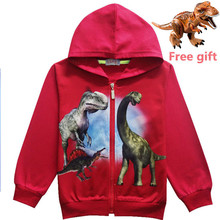 Hooded jacket for boys tops jurassic world of 4-12 years