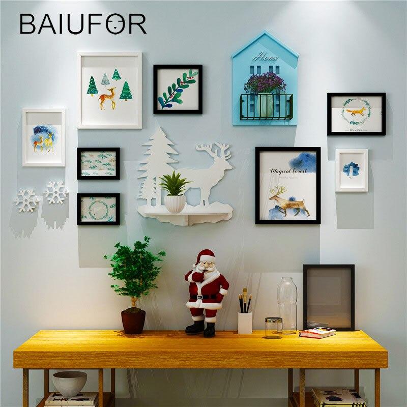 BAIUFOR Kerst Thuis Fotolijst Muur Decor, frame Set Creatieve Combinatie Muur Foto Multi Frame Set Met Huis Plank