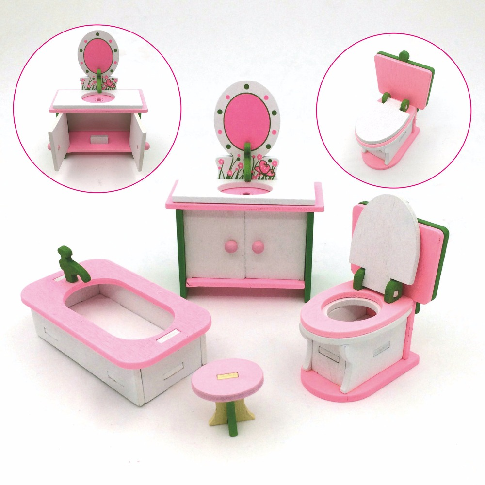 3D Wooden Miniature Bedroom Miniature Furniture Set Doll Accessories For LOL Dolls etc Mini Doll House Assemble Kids Gift(China)