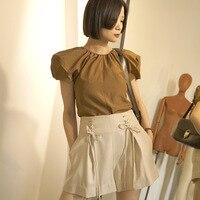 ZHEJIAN Pleat независимый дизайнер брендовые новые летние шаблон Тип Высокая Талия Халаза самосовершенствование тонкие шорты женские