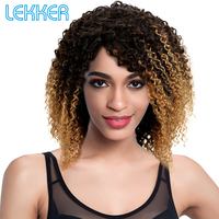 Lekker Brazilian Jerry Curl Curly Remy Hair Short Human Hair Wigs For Black White Woman T1B/4/27 Ombre Colored Human Hair Wigs