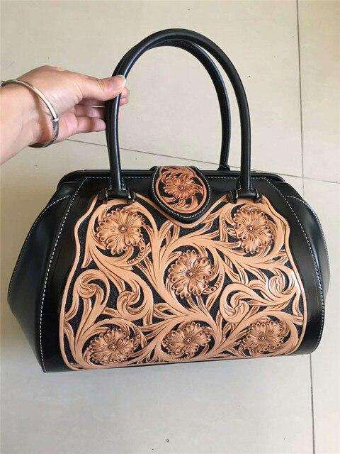 Handmade Flower Pattern Real Cow Leather Ladies HandBags Women Genuine  Leather bags Hign Quality Designer Luxury Brand Bag 631b8bf925
