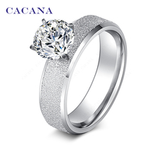CACANA Stainless Steel Rings For Women Sequin With CZ Personalized Fashion Jewelry Wholesale NO.R12
