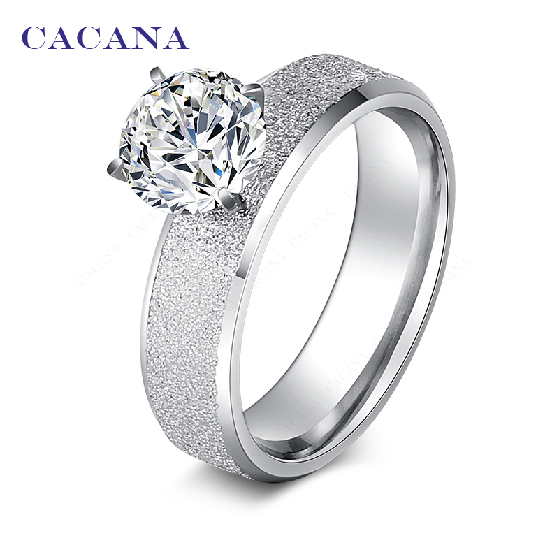 CACANA Titanium Stainless Steel Rings For Women Sequin With CZ  Fashion Jewelry Wholesale NO.R12