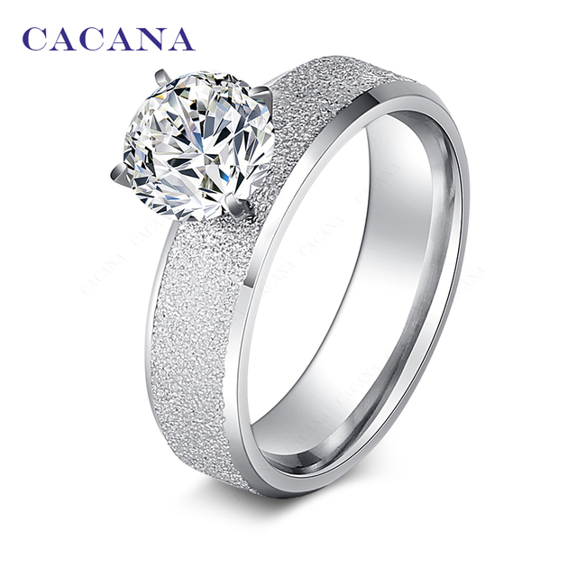 CACANA Titanium Stainless Steel Rings For Women Sequin With CZ Fashion Jewelry W
