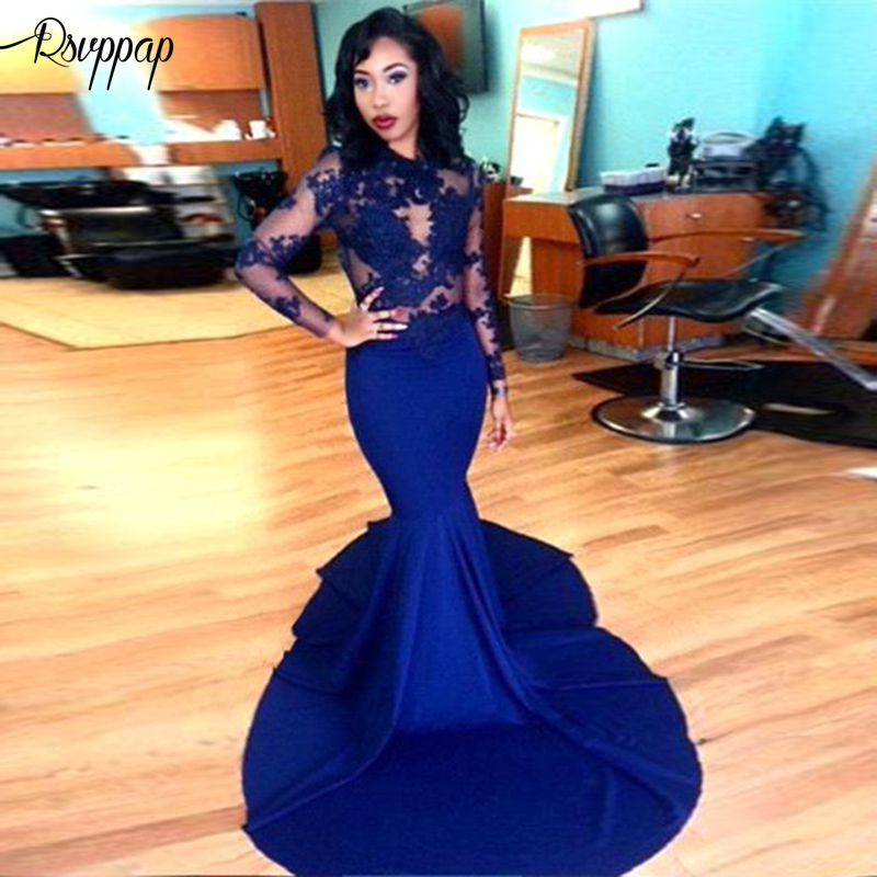 Long   Prom     Dresses   2019 Elegant Mermaid Sheer O-neck Long Sleeve Top Lace Royal Blue Stretch Satin African Girl   Prom   Gown   Dress