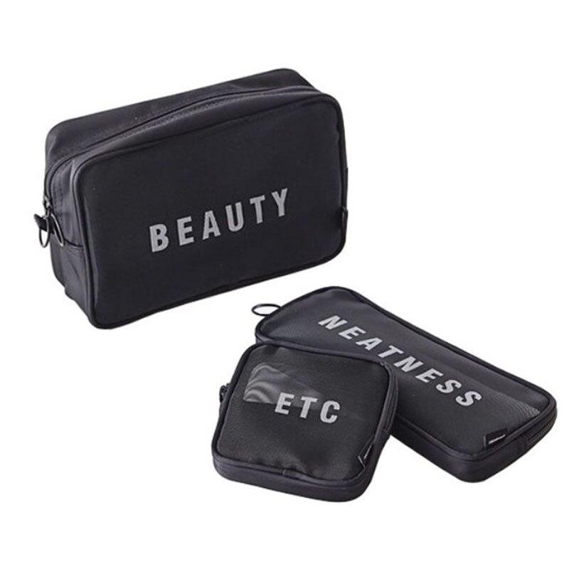 brand travel three-piece cosmetics cosmetic bag organizer beautician essential mesh storage bags high quality makeup bag цена