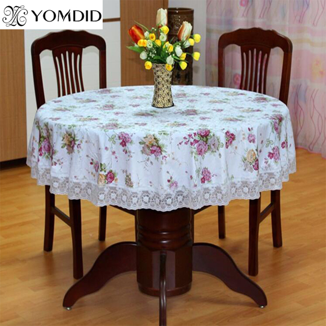 Flower Style Round Table Cloth Past Pvc Plastic Tablecloth Oilproof Decorative Elegant Waterproof Fabric Cover