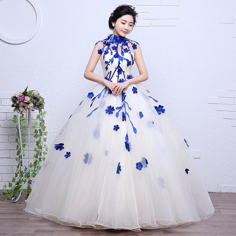 3 Color Red Black Blue Vintage High Neck Flowers Wedding Dress 2017 ...