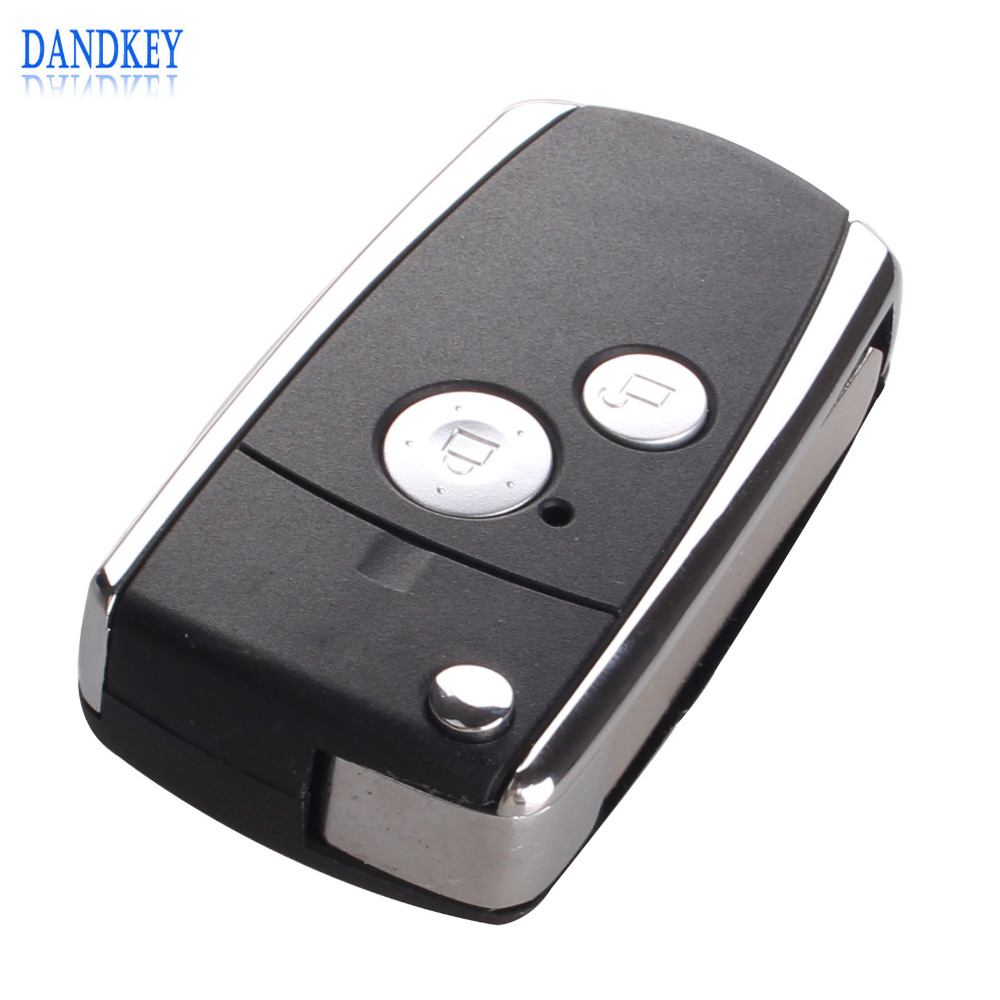Dandkey 2 Buttons Modified Remote Black Flip Key Shell For Honda CIVIC CRV JAZZ ACCORD ODYSSEY With Logo цена