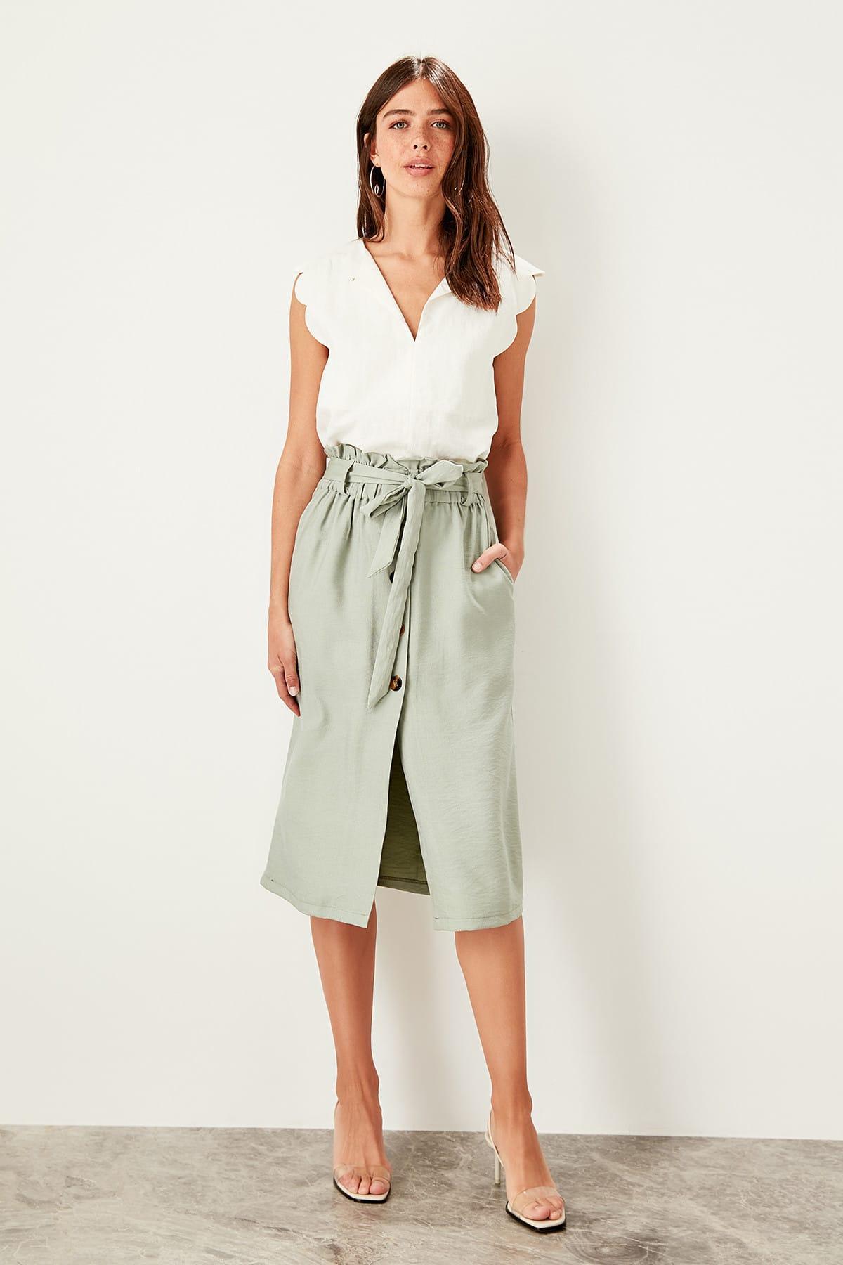 Trendyol Mint Lacing Detaylı Skirt TWOSS19ST0193