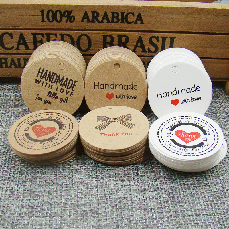 1000 шт./лот круглый крафт-ручной работы с любовью бумажная бирка спасибо подарок тег label для свадьбы/конфеты/детские подарки продукты Tagging Tag
