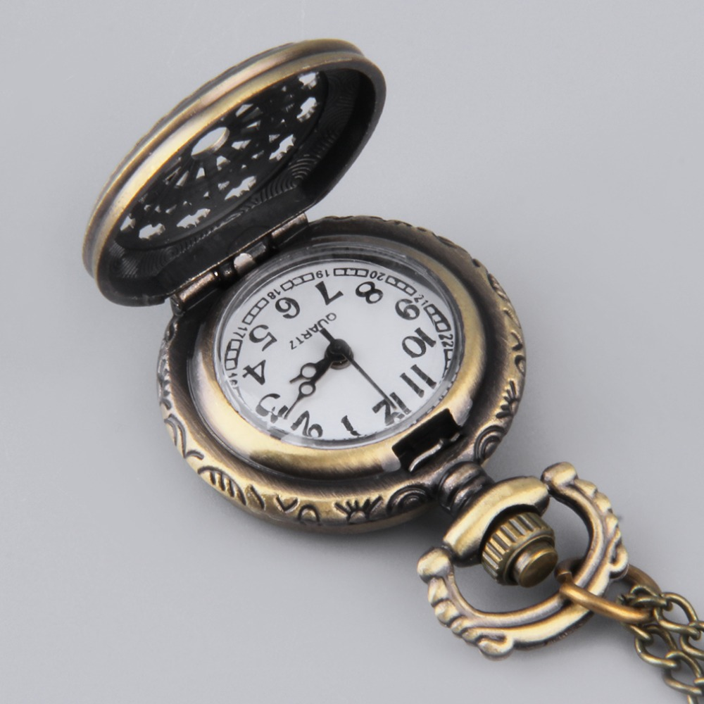 Vintage Web Flower Hollow Pocket Watch Retro Bronze Chain Pendant Necklace enhance your inner beauty New Arrivals retro bronze flower hollow alloy quartz pocket watches necklace chain gift w208 exquisite designs new vintage casual trendy