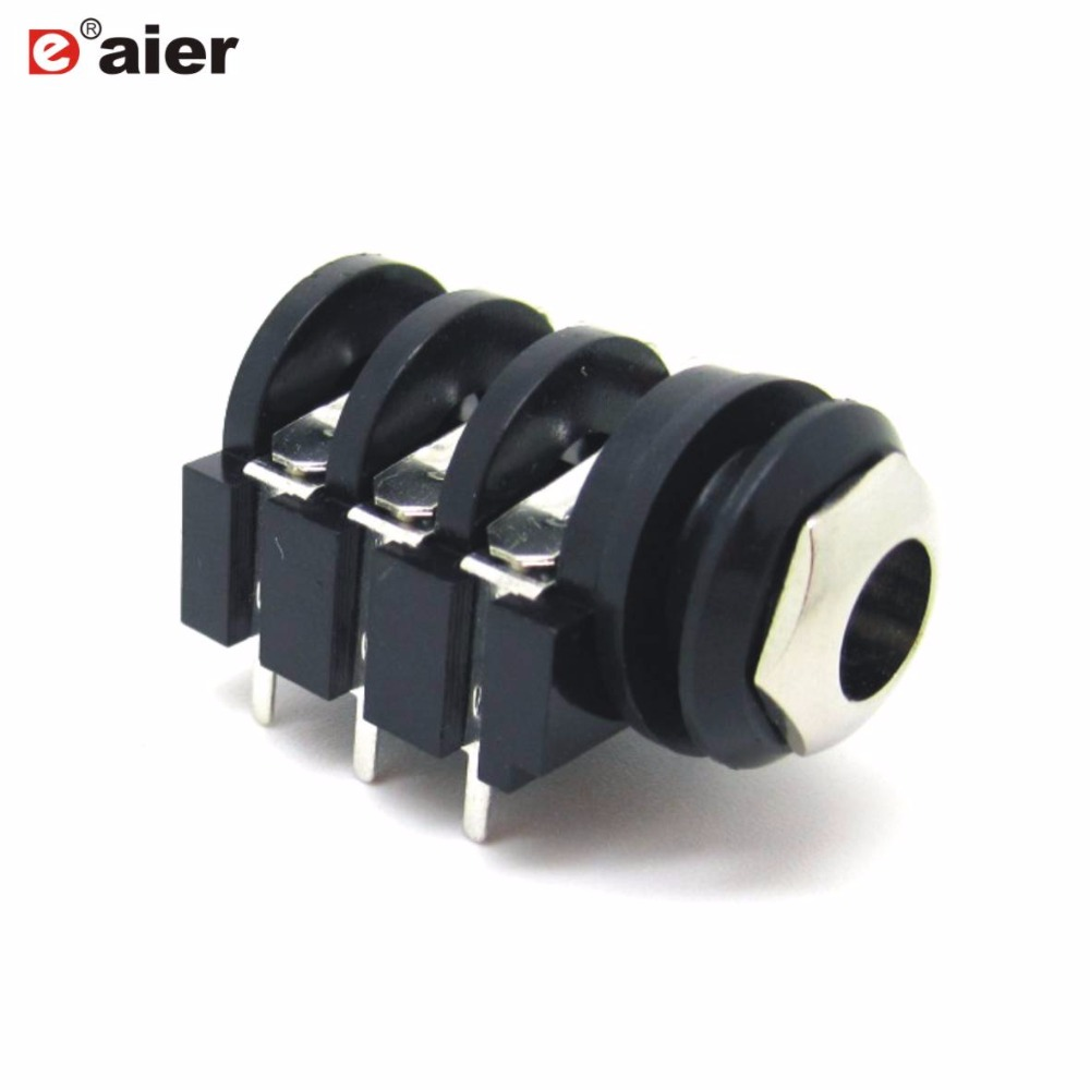 10PCS 6.35mm Jack Stereo Type With Short PCB Terminal Panel Mount PJ-644C Plastic Audio Female Stereo 1/4'' Phone Jack