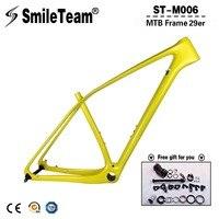 SmileTeam 29er Full Carbon MTB Frame T1000 Carbon Mountain Bike Frame 142 12mm Thru Axle 135