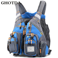GHOTDA Fly Fishing Vest Polyester Outdoor Swimming Life Backpack for Carp Pesca