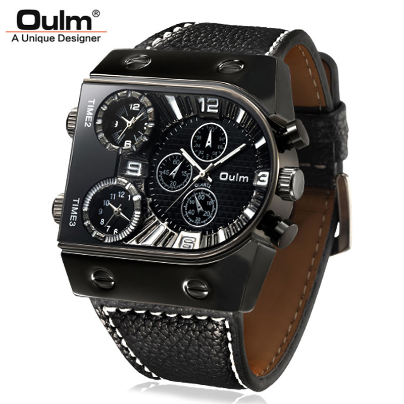 Famous OULM Mens Watches Top Brand Luxury Multi-Time Zone Sport Watch Big Face Military Quartz Clock Relogio Masculino Esportivo top brand luxury oulm 2 time zone men watches military sports quartz watch 2017 men rose golden case relogio masculino box