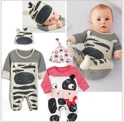 2 unids/set niño recién nacido de la ropa de rayas vaca deporte mameluco bebés lindos chicas y chicos de ropa para recién nacidos ropa de conjunto