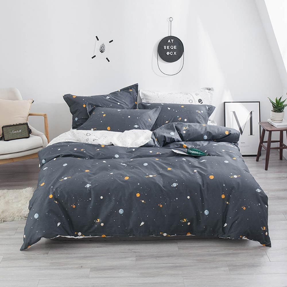 2019 Dark Grey Space Stars INS Cartoon Bed Cover Soft Cotton Bedlinens Twin Queen King Duvet Cover Set Bedspread Pillowcases