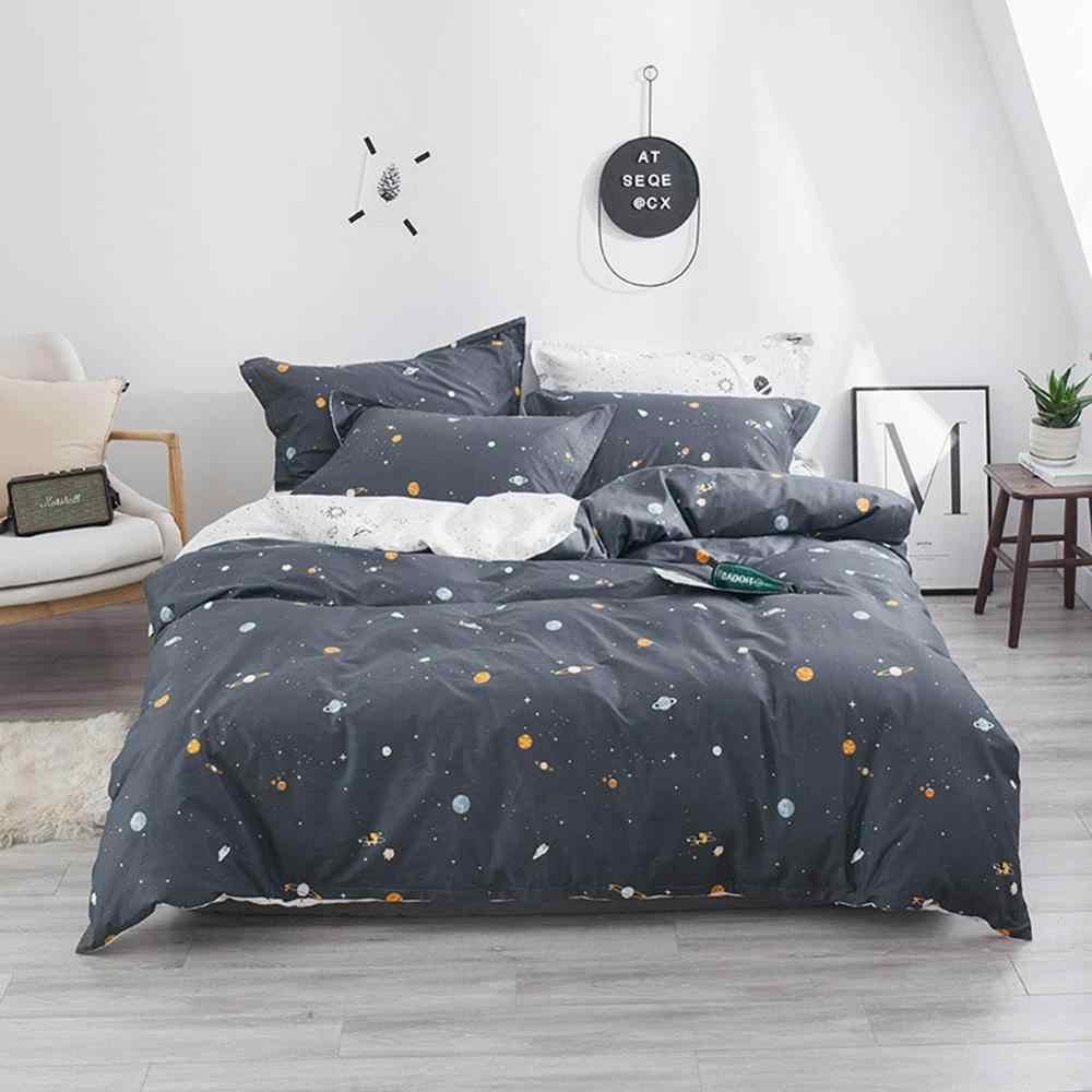 2019 funda de cama de dibujos animados de estrellas del espacio gris oscuro INS ropa de cama de algodón suave ropa de cama doble reina edredón juego de fundas de almohada