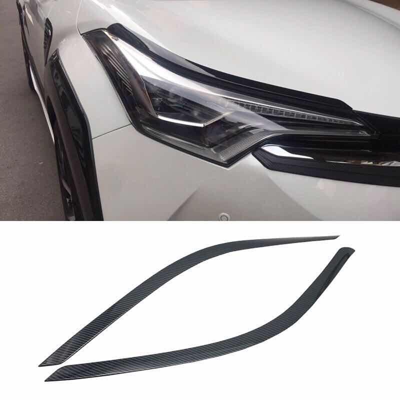 Für Toyota C-HR CHR 2017 2018 Auto front kopf Licht lampe augenbraue haube Form rahmen stick ABS Chrom//carbon fibre trim 2 stücke