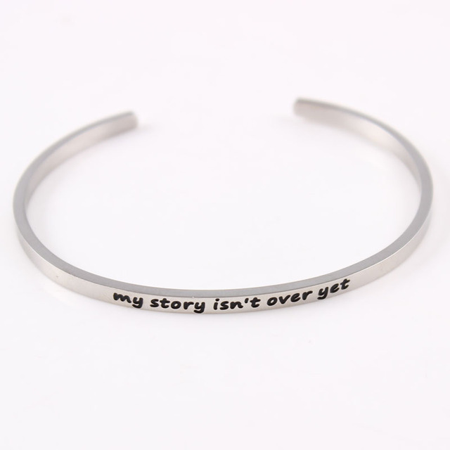 My Story Isn T Over Yet Bracelet Inspirational Quote Jewelry Hand Stamed Cuff Bangle