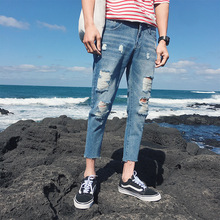 Fashion 2019 summer thin Destroy Wash hip hop teenager jeans men Knee Cut Ripped Hole Casual Biker boys Ankle Length Pants men top quality 2019 fashion harem pants men ripped knee hole monkey wash washing harem hip hop overalls cargo ankle length pants