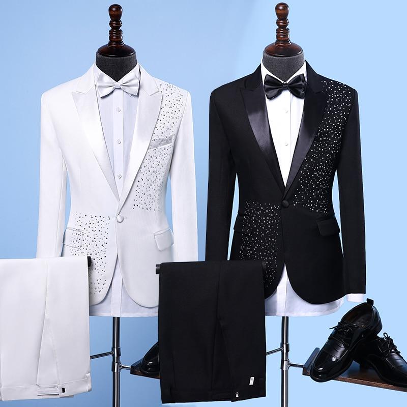 Jacket+Pants+BowTie New Fashion Brand Men Suits Black White Sequins Wedding Slim Fit Blazers Male Tuxedo Groom Suit Male Prom