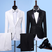 Jacket+Pants+BowTie New Fashion Brand Men Suits Black White Sequins Wedding Slim Fit Blazers Male Tuxedo Groom Suit Male Prom