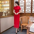 Shanghai Story Short Sleeve national trend dresses Chinese Women's Dress lace cheongsam Long Qipao chinese traditional dresses