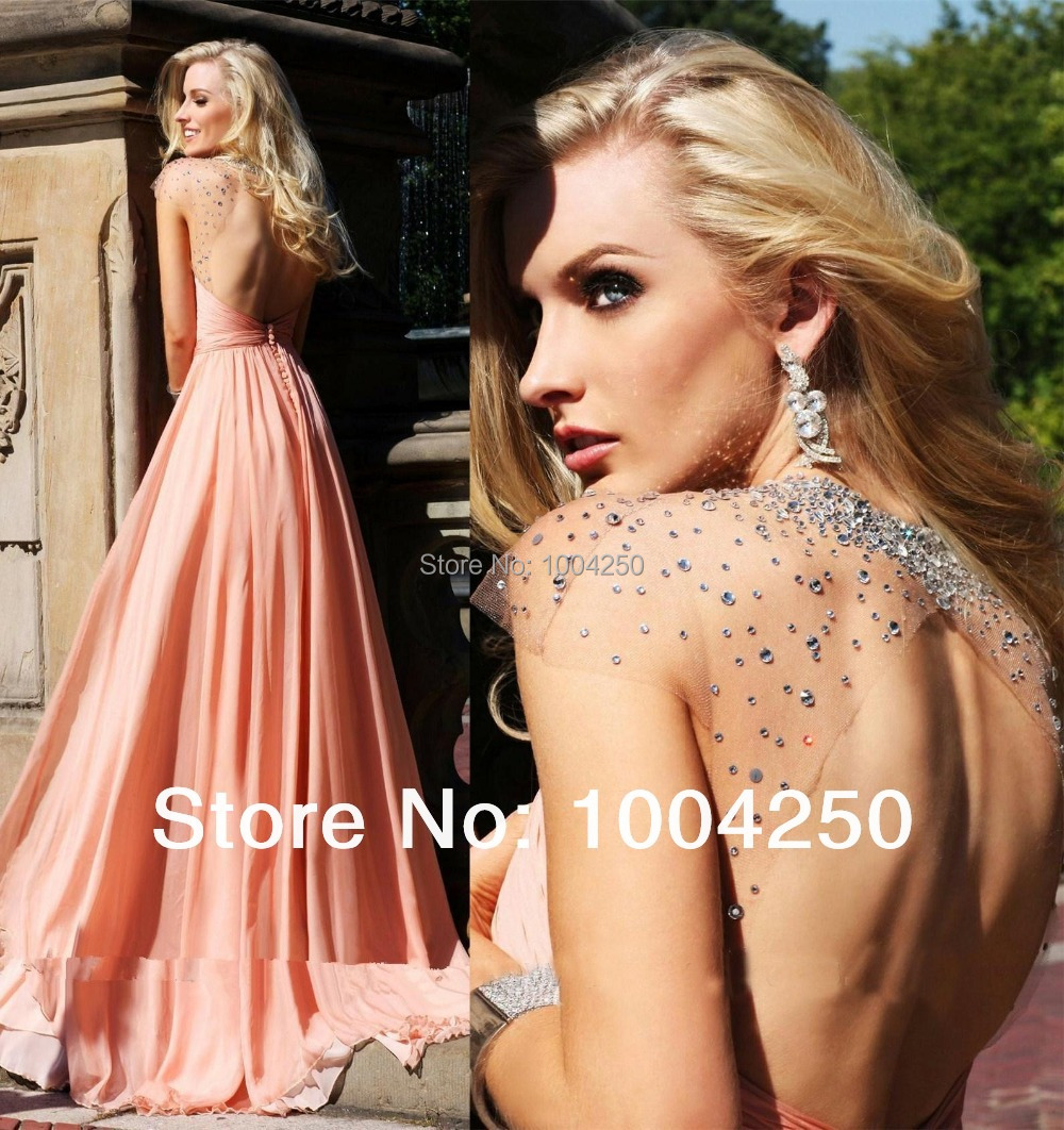 Bright 2018 Sexy Criss-cross Halter Nude Pink Long Chiffon Evening Dress Sheer Back Crystals Floor Length Prom Party Dress Hollow Back Nourishing The Kidneys Relieving Rheumatism Weddings & Events