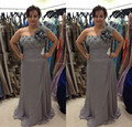 Modern Gray Chiffon Flowing Floor Length Beaded Plus Size Bridal Mother Dressses Women Wedding Evening Party Bridal Mother Gowns
