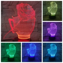 Flower Rose Cup 3D LED Lamp bedside gece lambasi Lampara RGB Girl Child Kids Baby Birthday Gifts USB Night Light Neon