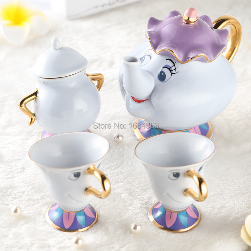 Äkta Cartoon Beauty och The Beast Tea Set Mrs Potts Tekanna Chip Cup - Kök, matsal och bar