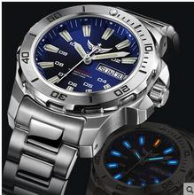 Yelang 남자 자동 시계 삼중 수소 t100 라이트 스위스 eta 무브먼트 25 보석 회전 다이얼 날짜 다이버 시계 방수 300m