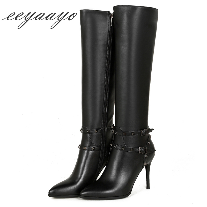 Genuine leather mid-calf spring winter boots women shoes high thin heel zip elegant sexy boots belts buckle rivets pointed toe 2018 new arrival fashion winter shoe genuine leather pointed toe high heel handmade party runway zipper women mid calf boots l11