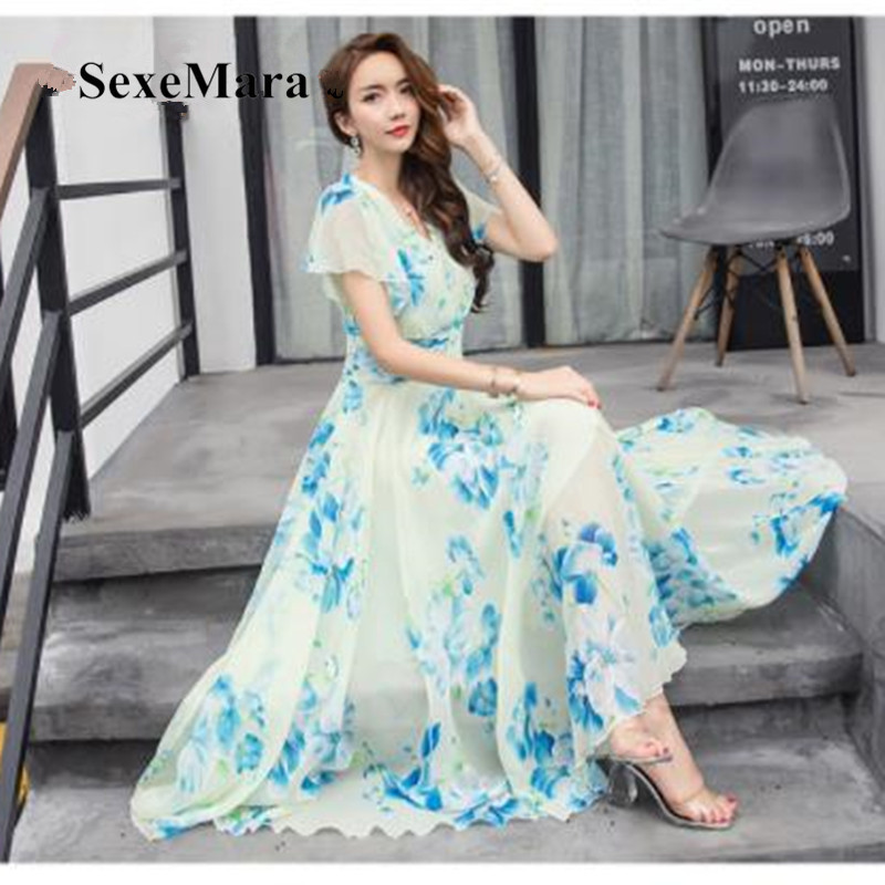 Detail Feedback Questions about 2019 V Neck New Arrival Summer Dress Large  Size Long Women Dress Chiffon Beach Holiday Fairy 5XL Plus Size Dress  Vestidos on ... c8b321e551c2