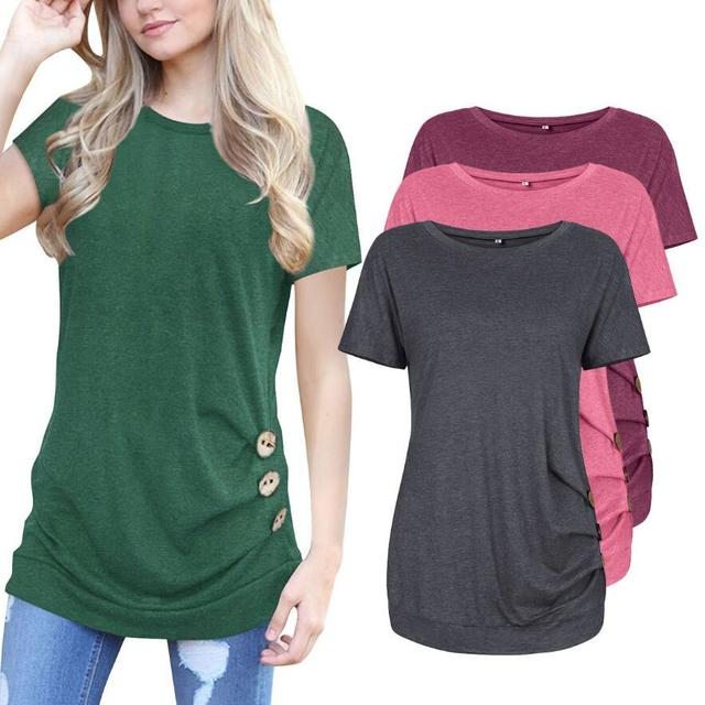 b61a1d891b1 Spring Summer 2019 Fashion Casual Women T-shirt O-neck Short Sleeve Button  Design Long Shirt Plus Size Women Clothing Women Tops