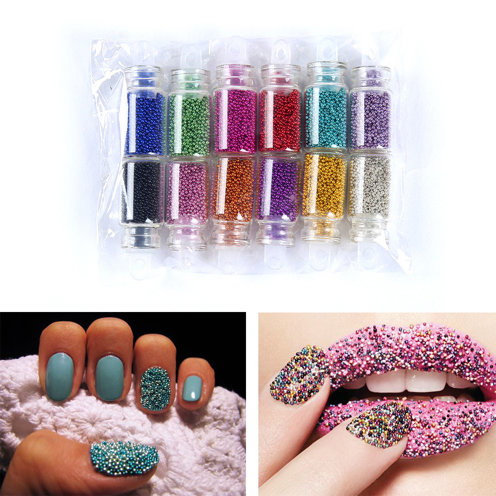 Clearance 12Color Rhinestones for Nails 3D Nails Micro Glass Ball Nail Art Decorations Nail Polish Glitter Caviar Beads Stickers 10g box clear nail caviar micro beads 3d glitter mini beans tiny tips decorations diy nail art rhinestones manicure accessories
