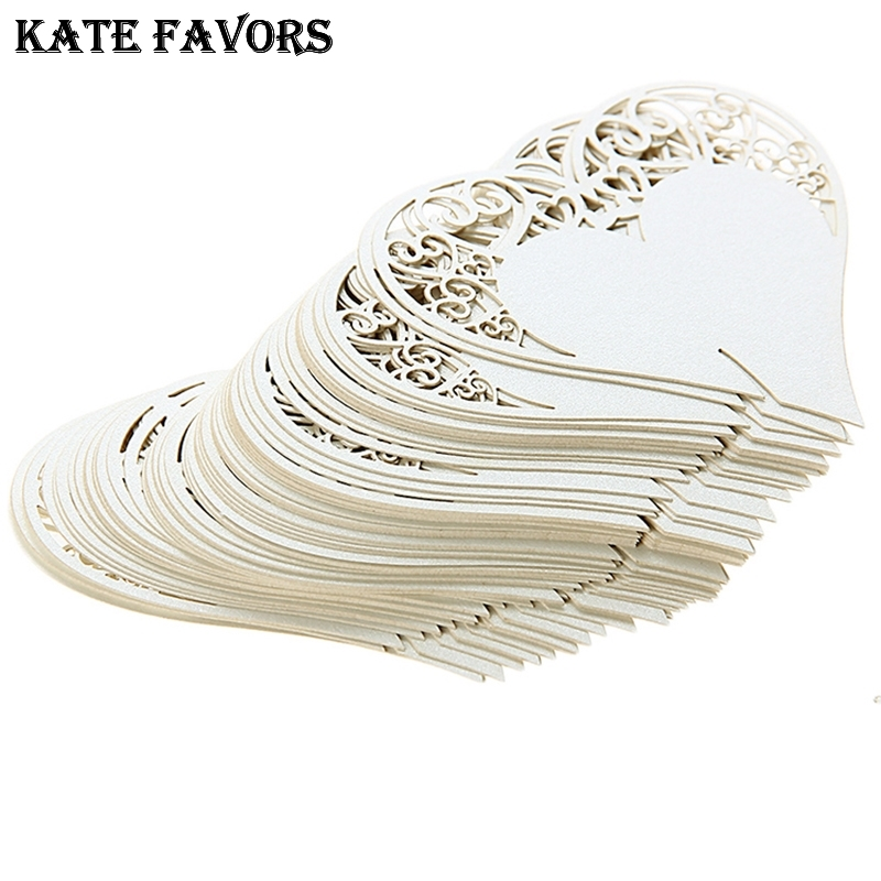 50Pcs Laser Cut White/Ivory Love Heart Shape Wedding Place Cards Name Cards For Wedding Party Table Decoration