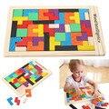Tetris tangram de madera cerebro teaser puzzle preescolar magination intelectual educativos niños juguete para niños bebés niños
