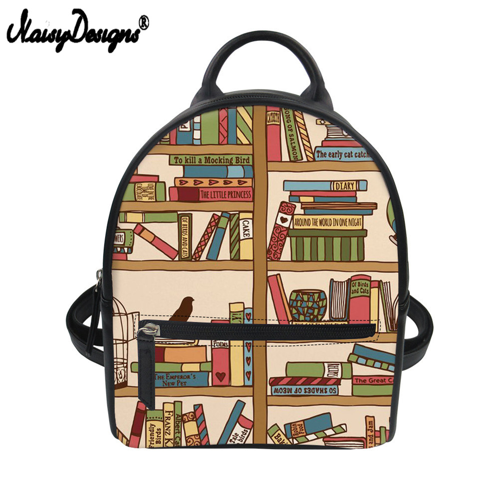 Noisydesigns Women Leather Backpack School Shoulder Bag Cartoon Science Books Printed Small Shoulder Bags Travel Female KnapsackNoisydesigns Women Leather Backpack School Shoulder Bag Cartoon Science Books Printed Small Shoulder Bags Travel Female Knapsack