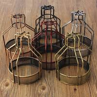 140x200mm Edison Iron Retro Vintage Ceiling Hanging Light Fitting Lamp Bulb Guard Wire Cage Bar Cafe Decor Lampshade Lamp Base