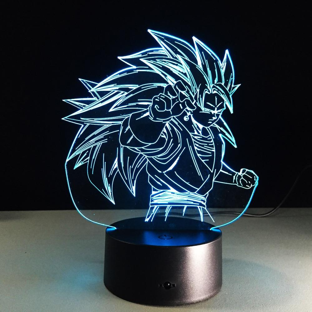 D Ragon B All Z รูป 3D Led ไฟกลางคืน Son Goku ซูเปอร์ยาน 3 ที่มีสีสันอะคริลิ USB โคมไฟ LED ตกแต่ง