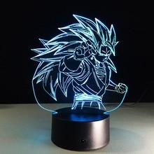 Dragon Ball Z Figure 3D Led Night Light Son Goku Super Saiyan 3 Colorful Acrylic USB LED Table Lamp Decoration