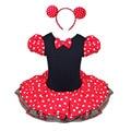 2016 de los Bebés de Minnie Mouse de Puntos de Regalo de Navidad Fiesta de Halloween Cosplay Traje de la Muchacha del Ballet Tutú y Diadema Oreja